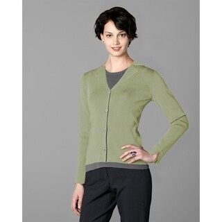 Twin Hill Womens Sweater Grass Rayon/Nylon Four-Button