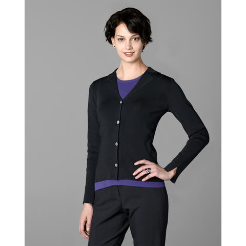 Twin Hill Womens Sweater Black Rayon/Nylon Four-Button