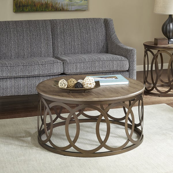 Bronze Coffee Table Nz: Shop Madison Park Avarado Brown/ Bronze Round Coffee Table