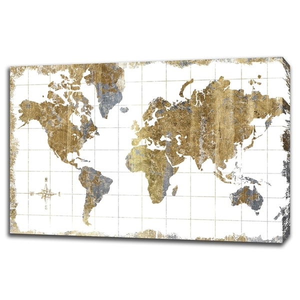 Gilded Map By Wild Apple Portfolio, Gallery Wrap Canvas