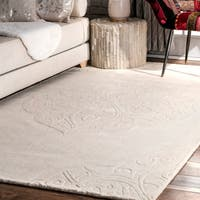 nuLOOM Hand-woven Abstract Fancy Wool Ivory Rug (9'6 x 13'6)