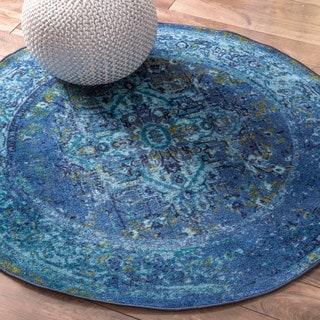 NuLOOM Traditional Vintage Inspired Overdyed Oriental Blue Round Rug (8u0027  Round)