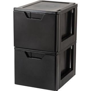 IRIS Stacking File Storage Drawer, 2 Pack, Black
