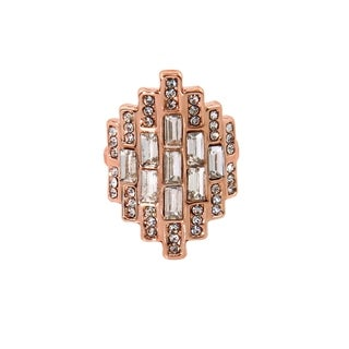 Eternally Haute 14K Rose Gold plated Pave Emerald Cut Cocktail Ring