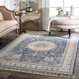 Link to nuLOOM Handmade Flatweave Traditional Sun Floral Rosette Medallion Tassel Area Rug Similar Items in As Is