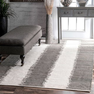 nuLOOM Contemporary Flatweave Woven Solid Ikat Stripes Grey Rug (7'6 x 9'6)