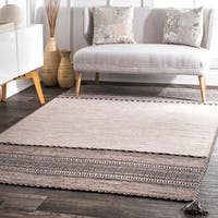 nuLOOM Contemporary Handmade Flatweave Diamond Bands Solid Light Beige Rug - 5' x 8'