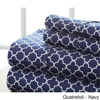 Becky Cameron Ultra Soft Printed 4 Piece Bed Sheet Set (Full - quatrefoil-navy)
