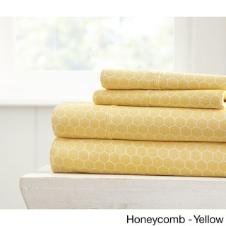 Becky Cameron Ultra Soft Printed 4 Piece Bed Sheet Set (Twin - honeycomb-yellow)