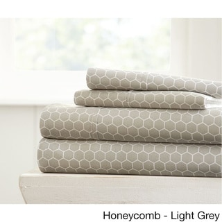 Becky Cameron Ultra Soft Printed 4 Piece Bed Sheet Set (Queen - honeycomb-gray)
