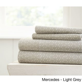 Becky Cameron Ultra Soft Printed 4 Piece Bed Sheet Set (California King - mercy-gray)