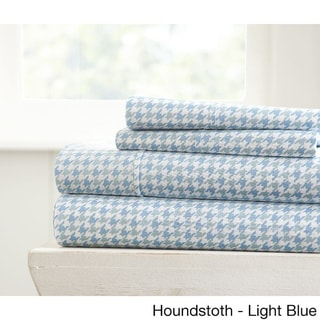 Becky Cameron Ultra Soft Printed 4 Piece Bed Sheet Set (Queen - houndstooth-light blue)
