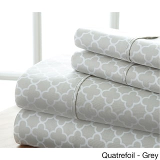 Becky Cameron Ultra Soft Printed 4 Piece Bed Sheet Set (King - quatrefoil-gray)