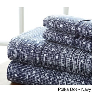 Becky Cameron Ultra Soft Printed 4 Piece Bed Sheet Set (Twin - polka dot-navy)