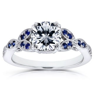 Annello By Kobelli 14k White Gold 1 1 3 Carats TGW Forever One Colorless Moissanite DEF With Diamond And Sapphire Accents Ring