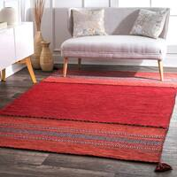 nuLOOM Contemporary Flatweave Handmade Diamond Bands Solid Red Rug - 5' x 8'