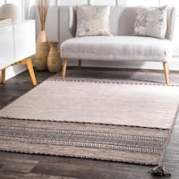 nuLOOM Contemporary Flatweave Handmade Diamond Bands Solid Light Beige Rug - 7'6 x 9'6
