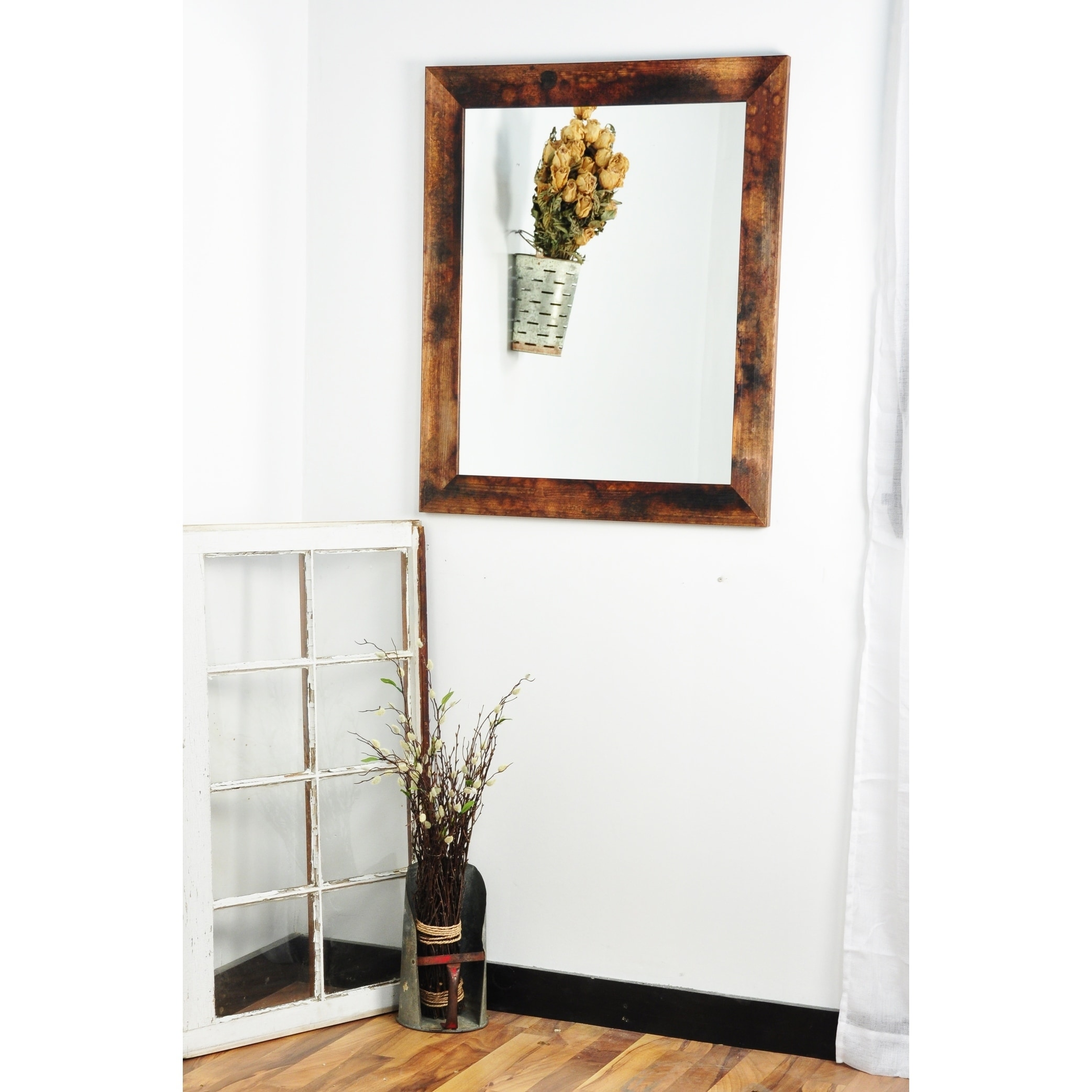 Multi Size Burnt Mahogany Wall Mirror - mixed mahogany (22 x 32.5)