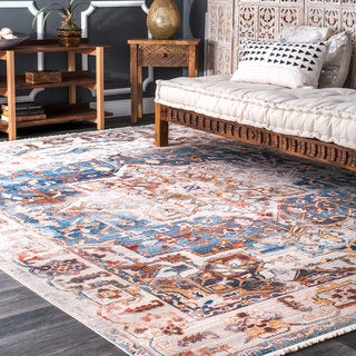 nuLOOM Traditional Vintage Fancy Medallion Border Area Rug