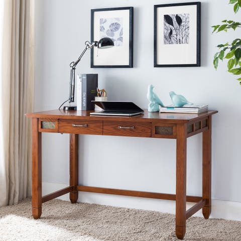 Leick Furniture Rustic Oak & Slate Laptop Desk with Center Drawer