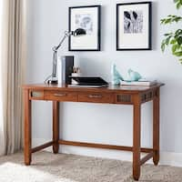 Leick Furniture Rustic Oak & Slate Laptop Desk with Center Drawer