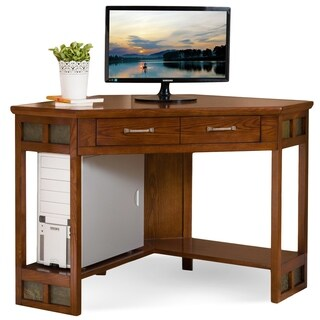 Leick Furniture Rustic Oak & Slate Corner Computer/Writing Desk