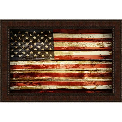 American Flag On Wood Framed Painting Print