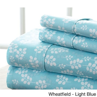 Becky Cameron Premium Ultra Soft Printed 4 Piece Bed Sheets Set (Queen - wheatfied-pale blue)