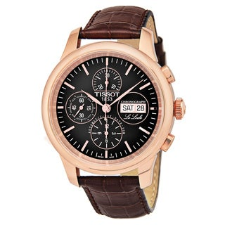 Tissot Men's T41.5.317.51 'Le Locle' Black Dial Brown Leather Strap Swiss Automatic Watch