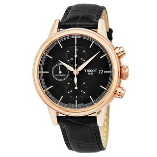 Tissot Men's T085.427.36.061.00 'Carson' Black Dial Black Leather Strap Chronograph Swiss Automatic Watch