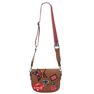 Rimen & Co. PU Leather Patch Cross Body Handbag Accented with Colorful Woven Strap