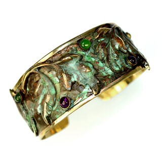 Handmade Verdigris Patina Solid Brass Leaves Cuff with Aragonite, Carnelian and Charoite by Elaine Coyne (USA)