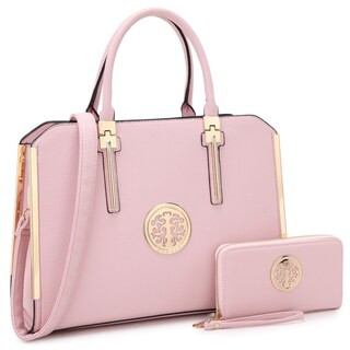 Dasein Briefcase-Style Satchel Handbag with Matching Wallet