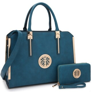 Dasein Briefcase-Style Satchel Handbag with Matching Wallet