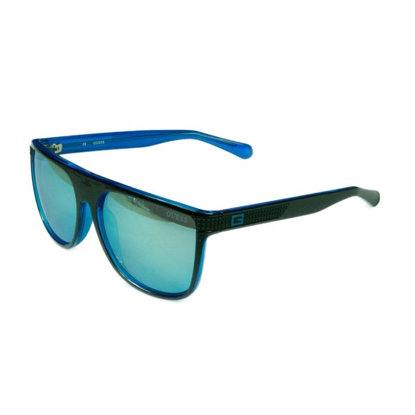 00f265b928 Guess Unisex GU6837 01X Shiny Black w  Blue Mirror Lens Sunglasses