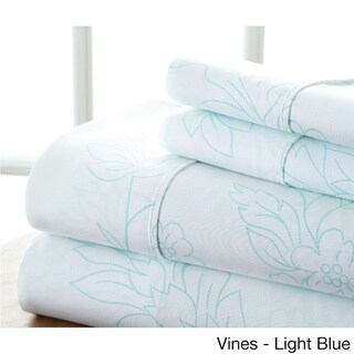 Becky Cameron Premium Ultra Soft Printed 4 Piece Bed Sheet Set (Queen - vine-aqua)