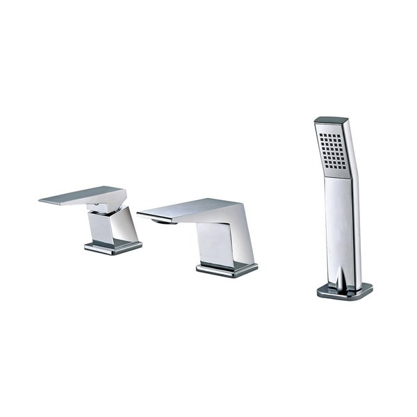 ALFI brand AB2464-PC Polished Chrome Deck Mounted 3 Hole Tub Filler & Shower Head. Opens flyout.