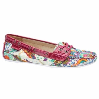 Sebago Women's Bala Boat Shoe Grand Bazaar Print Pink Patent Leather