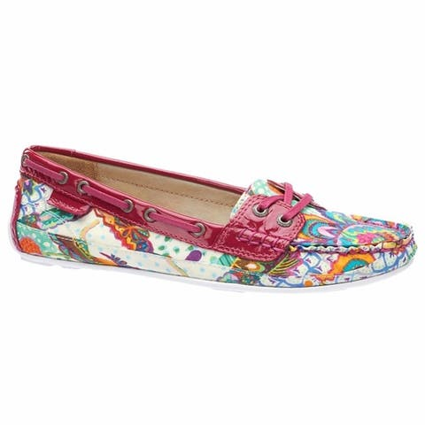 Sebago Womens Bala Boat Shoe Grand Bazaar Print Pink Patent Leather