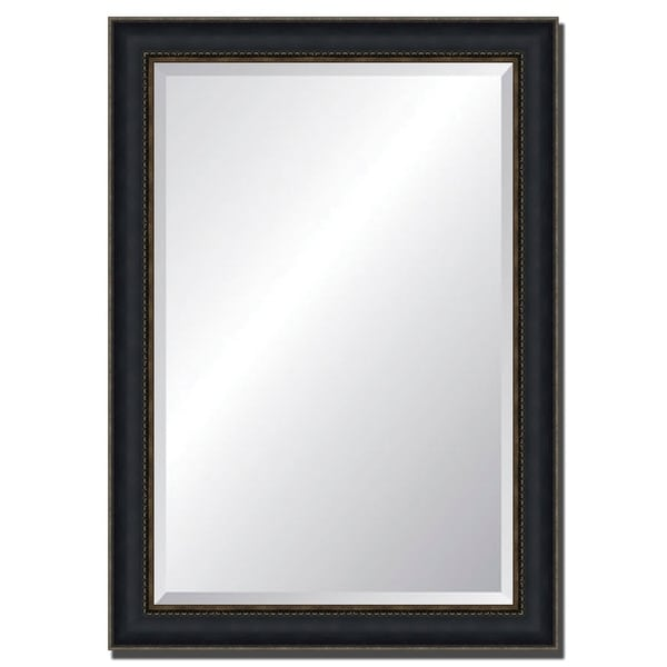 Wall Mirror With Black/ Gold Frame., Fine Art Print - Beige/Silver - A/N