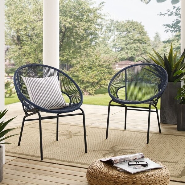 Shop Corvus Sarcelles Woven Wicker Patio Chairs (Set of 2