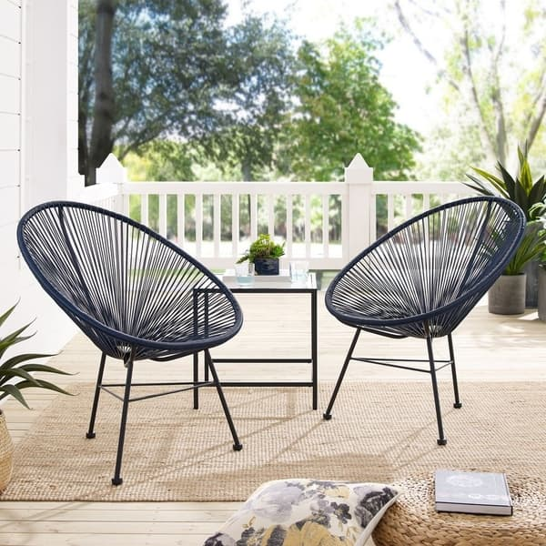 Shop Sarcelles Modern Wicker Patio Chairs by Corvus (Set of ...