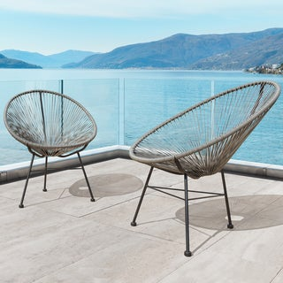 Sarcelles Modern Wicker Patio Chairs by Corvus (Set of 2) (Grey)