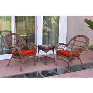 Jeco 3-piece Santa Maria Honey Steel and Wicker Chair Set