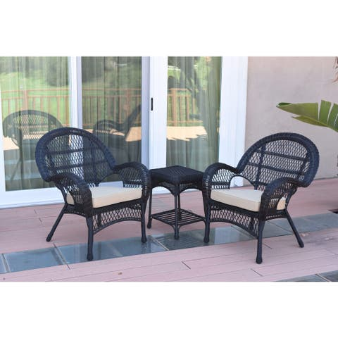 Jeco Santa Maria Black Wicker and Steel 3-piece Chair and End Table Set