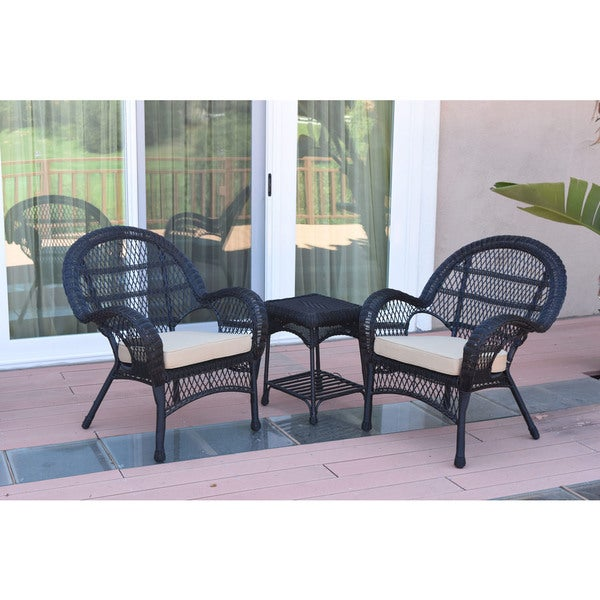 Shop Jeco Santa Maria Black Wicker And Steel 3 Piece Chair And End