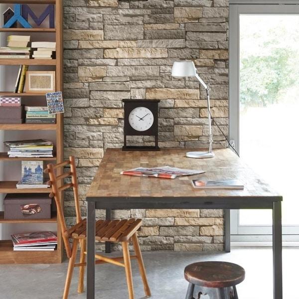 Ledgestone Grey/ Terracotta Wallpaper