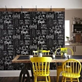 Coffee Shop Black/ White Wallpaper
