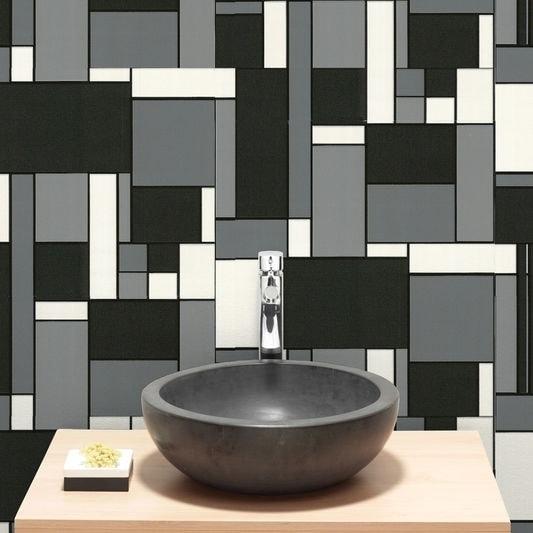. Graham   Brown Geo Tile Black   White Wallpaper
