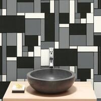 Graham & Brown Geo Tile Black & White Wallpaper
